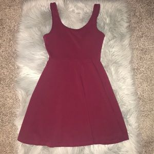Express Solid Burgundy Summer Dress (Size: S)